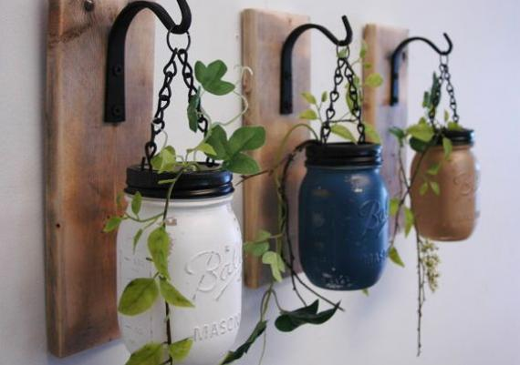 Great Idea Colorful Mason Jars Wall Mounted