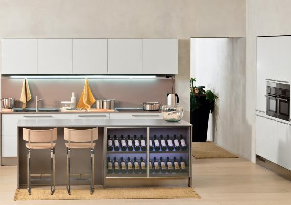Cool Wine Rack Built In The Kitchen Dining Room Island
