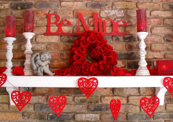 Romantic Valentine's Home Decorating Fireplace