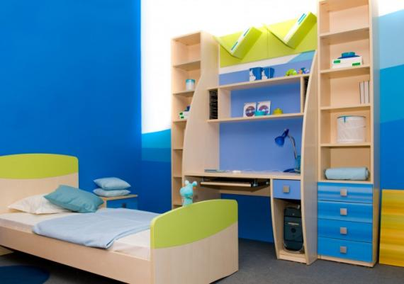 Blue And Green Boys Room Interior Decor